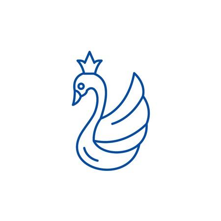 Swan line concept icon. Swan flat  vector website sign, outline symbol, illustration. Foto de archivo - 119711882