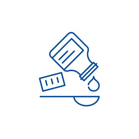 Taking the medicine line concept icon. Taking the medicine flat  vector website sign, outline symbol, illustration.