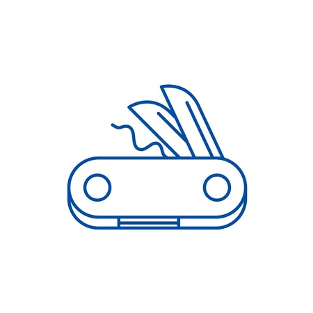 Swiss knife line concept icon. Swiss knife flat  vector website sign, outline symbol, illustration.
