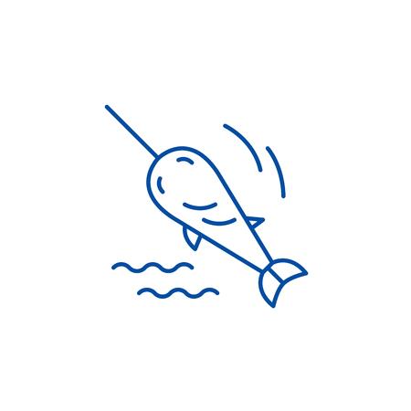 Swordfish line concept icon. Swordfish flat  vector website sign, outline symbol, illustration. Illustration