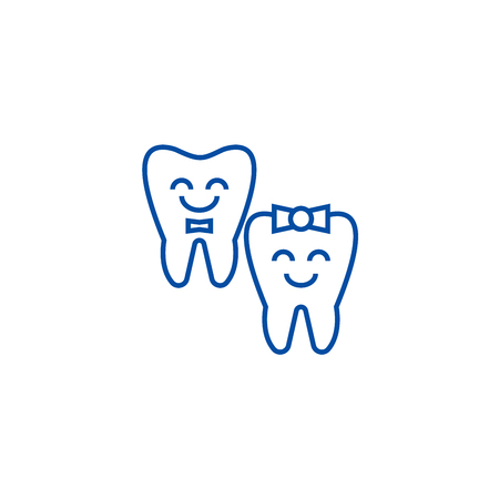 Teeth care,happy tooth line concept icon. Teeth care,happy tooth flat  vector website sign, outline symbol, illustration.