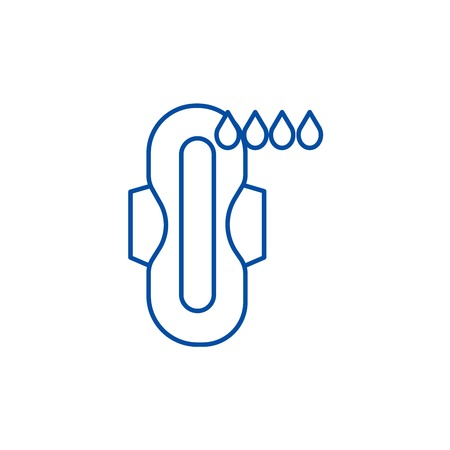 Tampons,compress,menstruation line concept icon. Tampons,compress,menstruation flat  vector website sign, outline symbol, illustration.