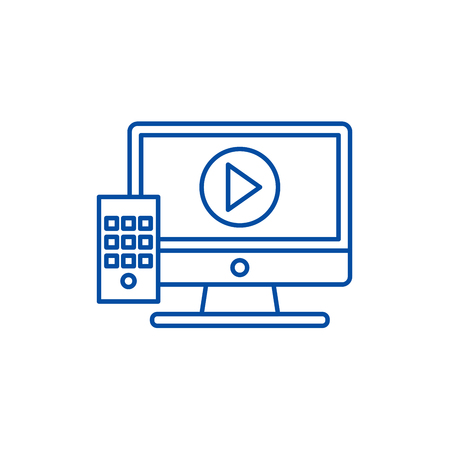 Television line concept icon. Television flat  vector website sign, outline symbol, illustration.