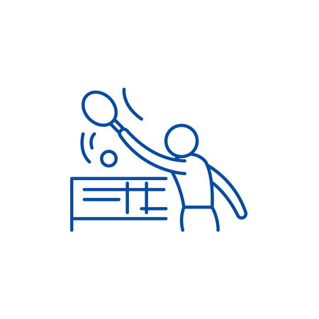 Tenis line concept icon. Tenis flat  vector website sign, outline symbol, illustration.