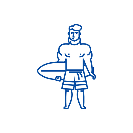 Strong man with surfing board line concept icon. Strong man with surfing board flat  vector website sign, outline symbol, illustration.