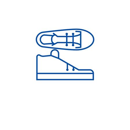 Tenis shoes line concept icon. Tenis shoes flat  vector website sign, outline symbol, illustration.