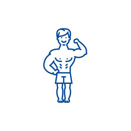 Strong man, bodybuilder muscles line concept icon. Strong man, bodybuilder muscles flat  vector website sign, outline symbol, illustration. Stock Illustratie