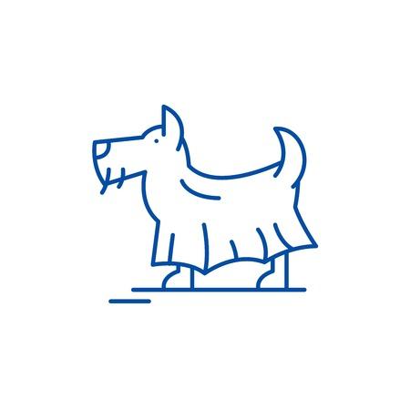 Terrier line concept icon. Terrier flat  vector website sign, outline symbol, illustration.