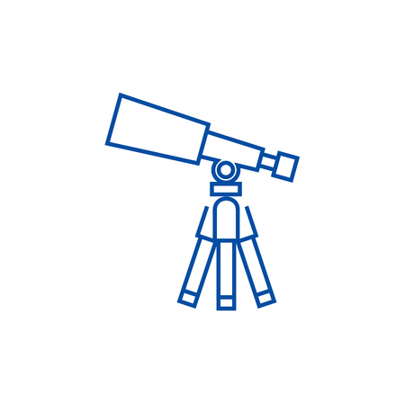 Telescope,scope line concept icon. Telescope,scope flat  vector website sign, outline symbol, illustration.