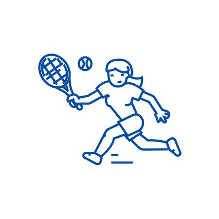 Tennis championship,woman  line concept icon. Tennis championship,woman  flat  vector website sign, outline symbol, illustration.