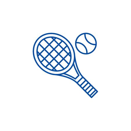 Tennis racket line concept icon. Tennis racket flat  vector website sign, outline symbol, illustration. Stok Fotoğraf - 119711926