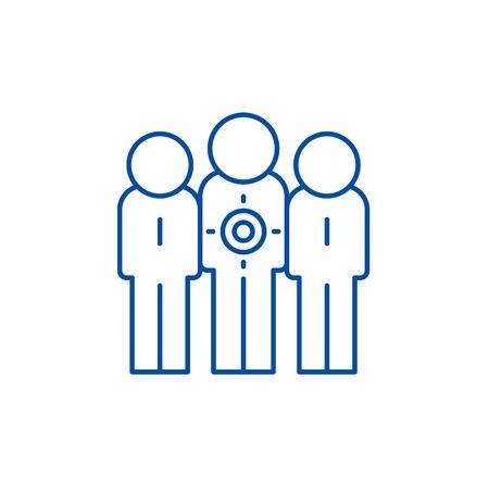 Target audience line concept icon. Target audience flat  vector website sign, outline symbol, illustration.