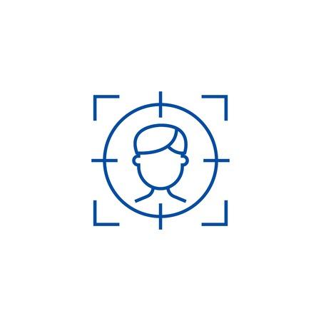 Target employee line concept icon. Target employee flat  vector website sign, outline symbol, illustration.