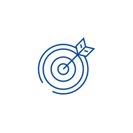 Doel, pijlpictogram lijn concept. Doel, pijl platte vector website teken, overzichtssymbool, afbeelding.