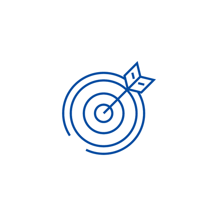 Target, arrow line concept icon. Target, arrow flat  vector website sign, outline symbol, illustration.