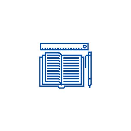 Studying,open book, pen, ruler line concept icon. Studying,open book, pen, ruler flat vector website sign, outline symbol, illustration. Vecteurs