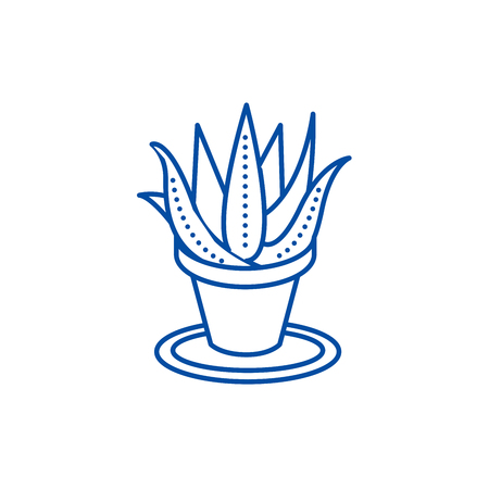 Succulents, aloe pot line concept icon. Succulents, aloe pot flat  vector website sign, outline symbol, illustration.