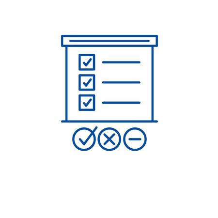 Survey list line concept icon. Survey list flat vector website sign, outline symbol, illustration. Vector Illustratie