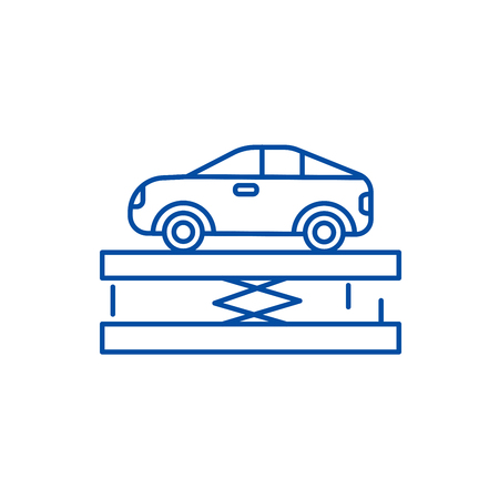 Suspension,car service line concept icon. Suspension,car service flat  vector website sign, outline symbol, illustration. Illustration