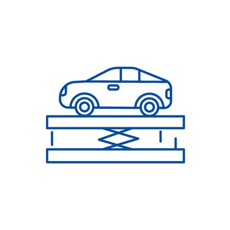 Suspension,car service line concept icon. Suspension,car service flat  vector website sign, outline symbol, illustration. 向量圖像