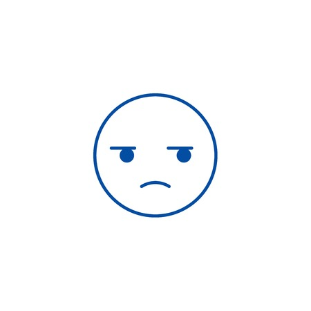 Suspicious emoji line concept icon. Suspicious emoji flat  vector website sign, outline symbol, illustration. Illustration