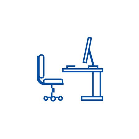 Table,office desk with computer sideview line concept icon. Table,office desk with computer sideview flat  vector website sign, outline symbol, illustration.
