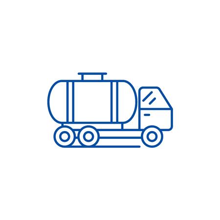 Tank car line concept icon. Tank car flat  vector website sign, outline symbol, illustration. Illustration