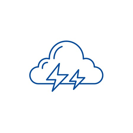 Thunderstorm line concept icon. Thunderstorm flat  vector website sign, outline symbol, illustration.