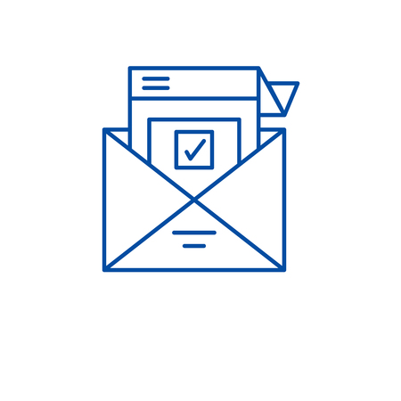 Survey letter line concept icon. Survey letter flat  vector website sign, outline symbol, illustration.