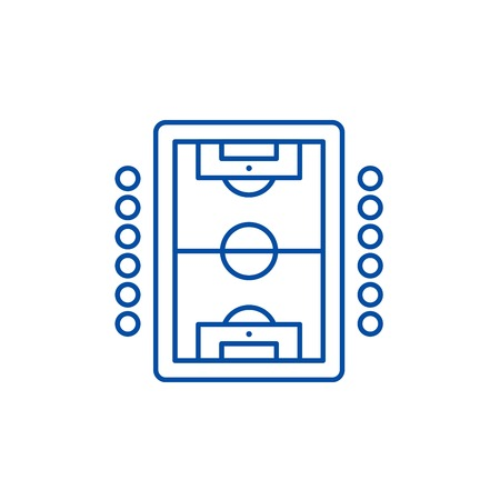 Table soccer play line concept icon. Table soccer play flat  vector website sign, outline symbol, illustration.