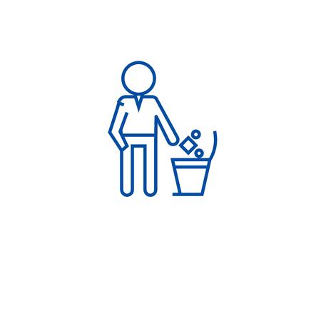 Gettare immondizia in un'icona del concetto di linea di bin. Gettare la spazzatura in un bidone del vettore piatto sito web segno, simbolo di contorno, illustrazione.