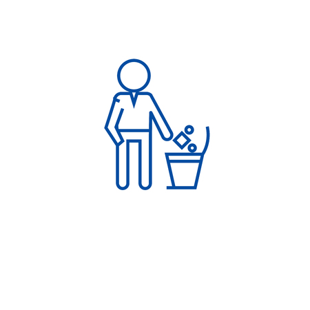 Throwing garbage in a bin line concept icon. Throwing garbage in a bin flat  vector website sign, outline symbol, illustration.