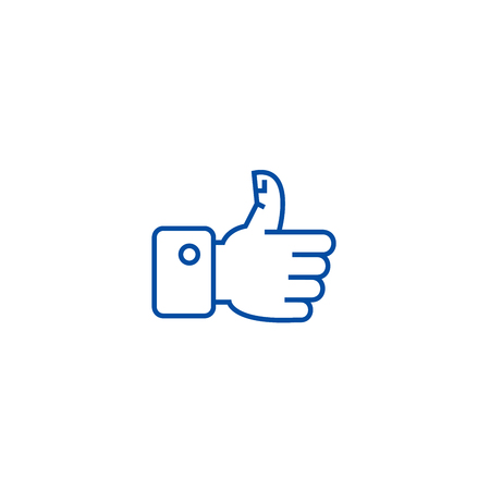 Thumbs up line concept icon. Thumbs up flat  vector website sign, outline symbol, illustration. Illustration