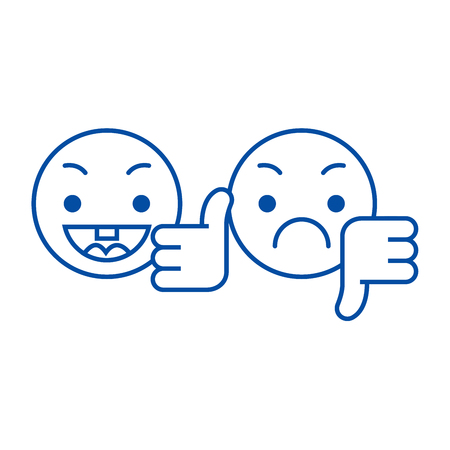 Pollice su, giù icona del concetto di linea emoji. Pollice su, giù emoji vettore piatto sito web segno, simbolo di contorno, illustrazione.