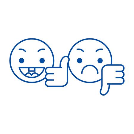 Pulgar arriba, abajo emoji icono de concepto de línea. Pulgar hacia arriba, hacia abajo emoji vector plano sitio web signo, símbolo de contorno, Ilustración.