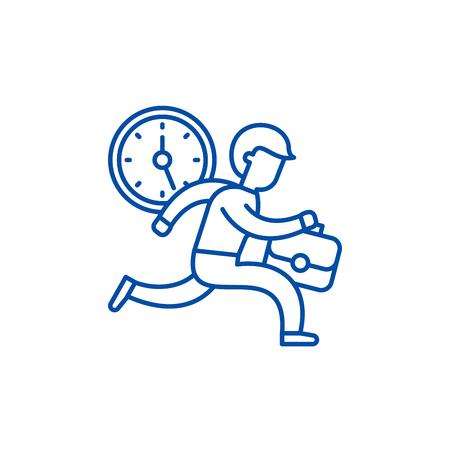 Time management line concept icon. Time management flat  vector website sign, outline symbol, illustration. Çizim