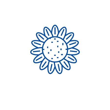 Sunflower line concept icon. Sunflower flat  vector website sign, outline symbol, illustration.