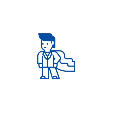 Super hero,businessman,business mentor line concept icon. Super hero,businessman,business mentor flat  vector website sign, outline symbol, illustration.
