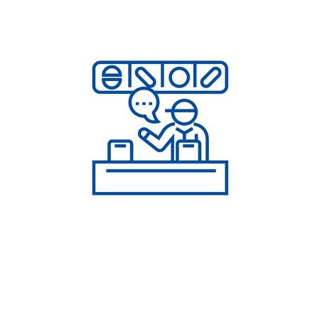 Supermarket cashier line concept icon. Supermarket cashier flat  vector website sign, outline symbol, illustration.