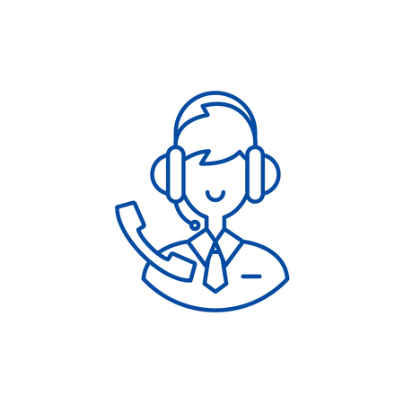 Support consultant line concept icon. Support consultant flat vector website sign, outline symbol, illustration.