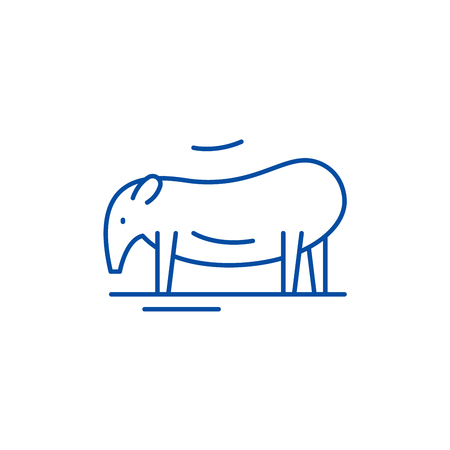 Tapir line concept icon. Tapir flat  vector website sign, outline symbol, illustration.