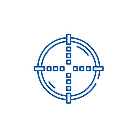 Target line concept icon. Target flat  vector website sign, outline symbol, illustration.