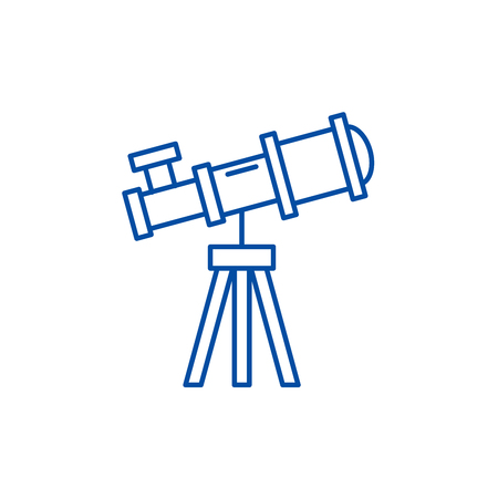 Telescope line concept icon. Telescope flat  vector website sign, outline symbol, illustration.