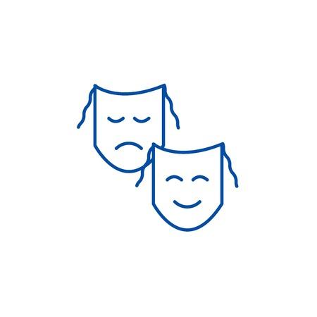 Theater,masks show line concept icon. Theater,masks show flat  vector website sign, outline symbol, illustration.