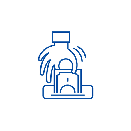 Theft line concept icon. Theft flat  vector website sign, outline symbol, illustration.