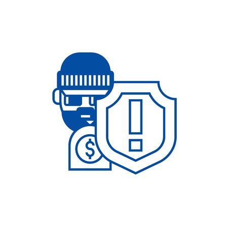 Theft,thievery, steal insurance  line concept icon. Theft,thievery, steal insurance  flat  vector website sign, outline symbol, illustration.