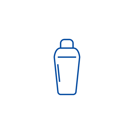 Thermos line concept icon. Thermos flat  vector website sign, outline symbol, illustration.