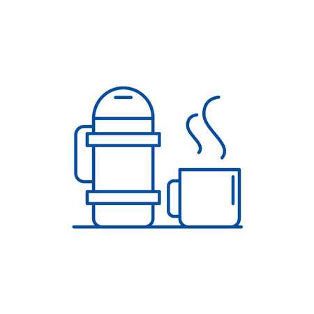 Thermos and mug line concept icon. Thermos and mug flat  vector website sign, outline symbol, illustration.