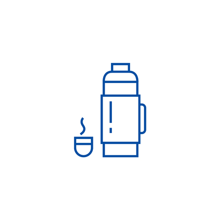 Thermos sign line concept icon. Thermos sign flat  vector website sign, outline symbol, illustration.