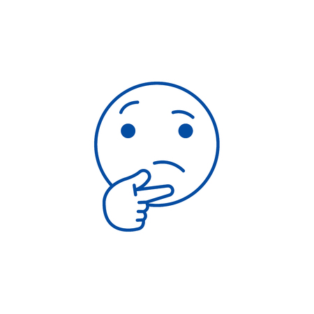 Thinking emoji line concept icon. Thinking emoji flat  vector website sign, outline symbol, illustration. 向量圖像